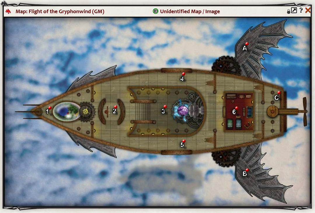 Top down map of fantastical airship